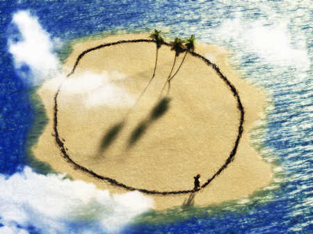 Person walking circle on desert island