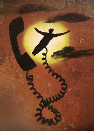 Silhouette of man connected to telephone receiver
