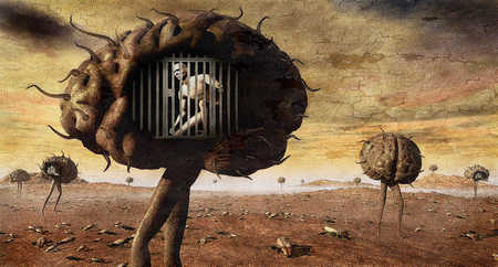 Person in cage inside walking brain