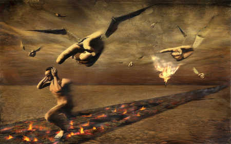 Man running on hot coals away from pointing fingers