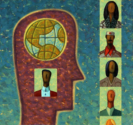 Head with globe and image of man inside looking at multi-ethnic people