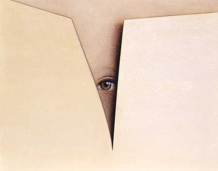 Eye looking through opening