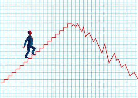 Businessman climbing line graph