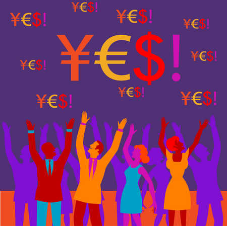 Business people cheering and 'yes' spelled in currency symbols