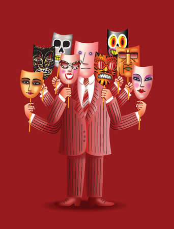 Businessman holding many different masks