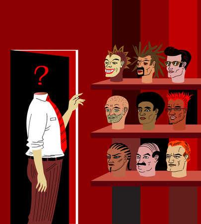 Headless man choosing which head to wear