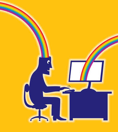 Businessman typing with rainbow entering his head