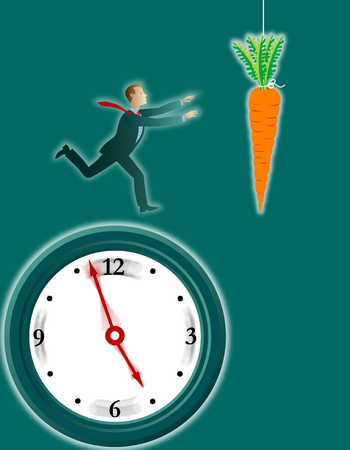 Businessman running on clock toward carrot