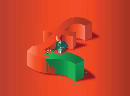 Stock Illustration Businessman Painting British Pound Symbol