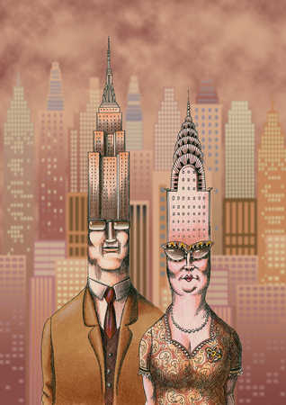 Senior couple with old buildings as heads