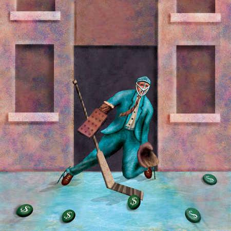 Businessman playing hockey with dollar sign pucks