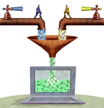 Faucets pouring binary code into computer