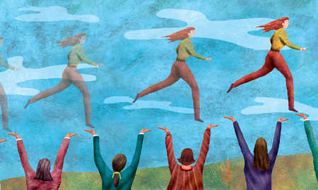 Women cheering other women running in the sky