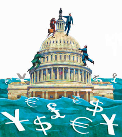 Business people climbing government building with currency symbols below