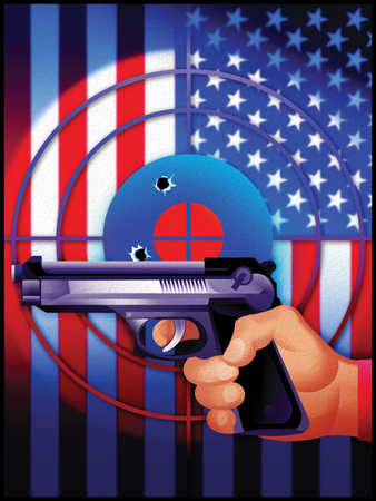 Gun and bull's-eye in front of American flag