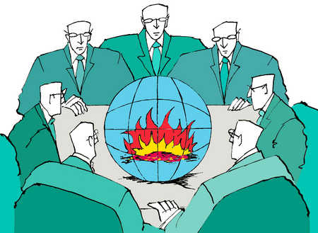 Fire in globe surrounded by businessmen