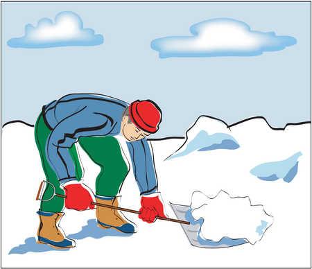 Mature adult man shoveling snow