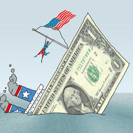Uncle Sam on sinking dollar bill ship