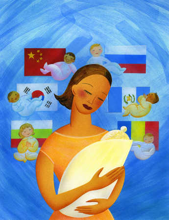 Mother and baby surrounded by babies with national flags