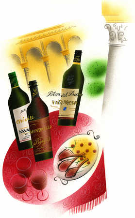 Illustration of wine and food on table