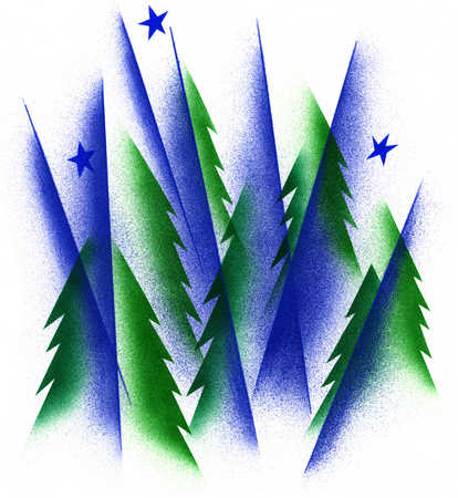 Illustration of trees and stars