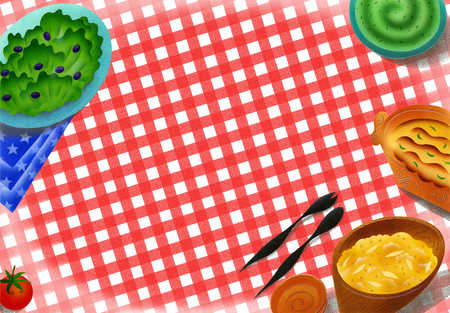 Picnic Tablecloth And Food With Copy Space In Center