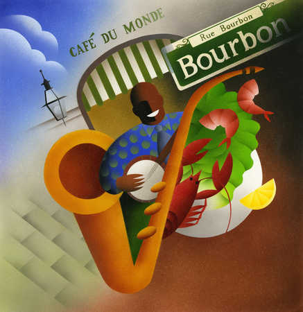 Illustration of banjo player, crawfish, saxophone and Rue Bourbon street sign