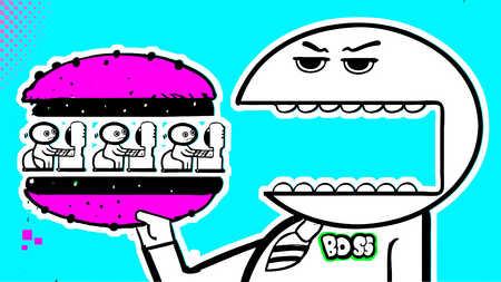 Businessman eating employee sandwich
