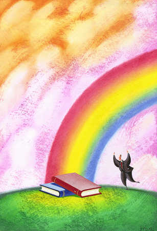 Person discovering two books at end of rainbow