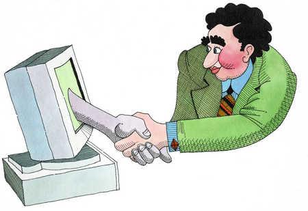 Man Shaking Hand Through Computer Monitor
