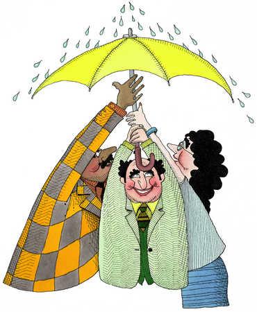 Three People Under An Umbrella