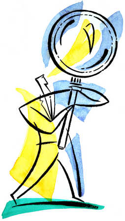 Man And Magnifying Glass