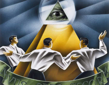 Men Around Pyramid
