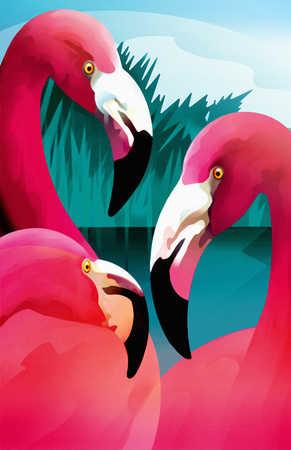 View of three flamingoes
