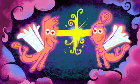 Man and woman cupid are thunderstuck by romantic attraction