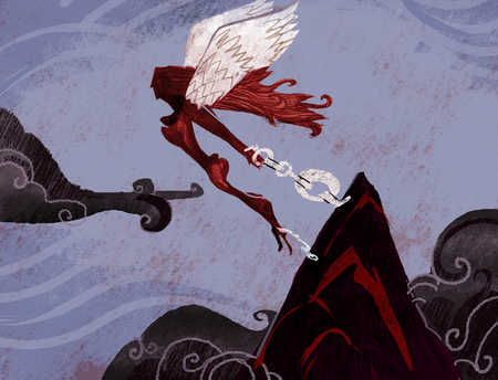 Winged woman with chains on her wrists flies over a mountain top