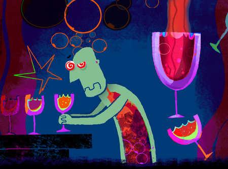 Drunken man sitting in a bar holding another drink