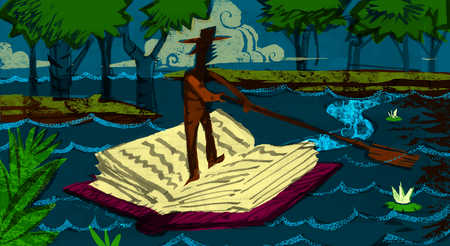 Man floating in a river standing on an open book