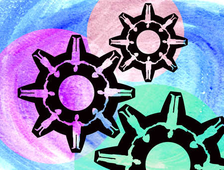 People-shaped cogs working together