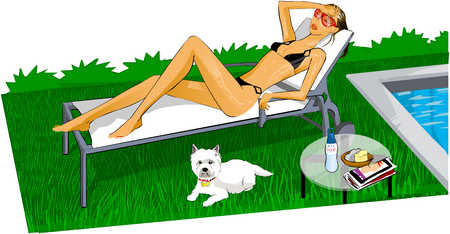 Woman and her dog laying by the pool tanning