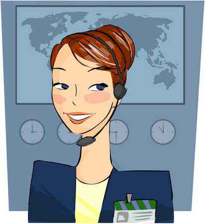 Woman with headset and credentials in front of a world map
