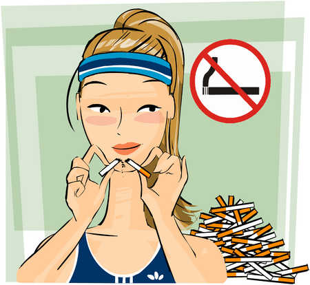 Woman breaking cigarettes in half while looking at no smoking sign