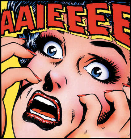 A colourful cartoon close up of a woman screaming Aiieeeee with a look of horror on her face