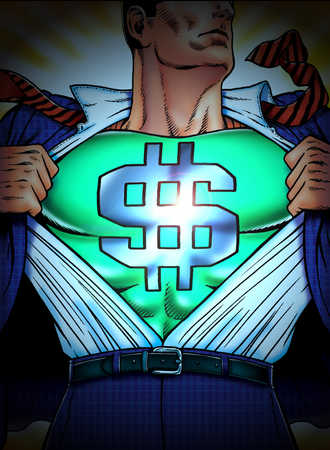 Man transforming into a superhero with image of a dollar sign on his costume