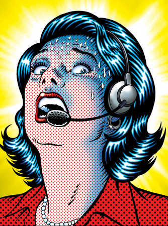 Woman with headset in a panic
