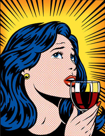 Confused woman drinking a glass of wine
