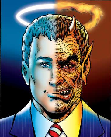 Man depicted as half saint, half demon