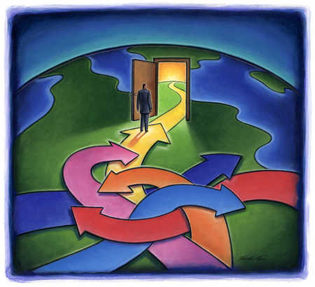 Man standing on multiple arrows going in circles, one arrow entering a door