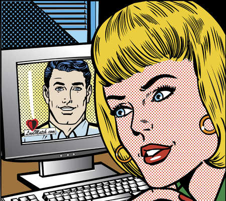 Woman looking at man on computer