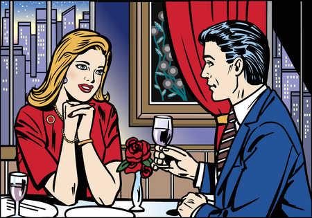 Man and woman having romantic dinner